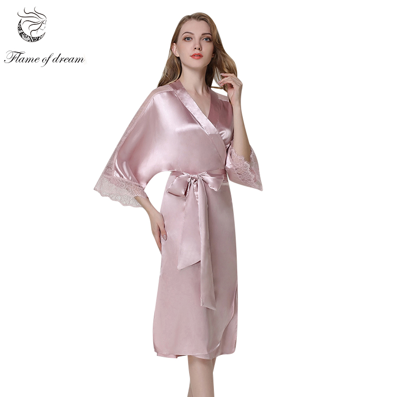 Silk Satin Satin Lace Home Dress Sleep Wear Indoor Clothing Sexy Sleepwear Kimono Bathrobe 1174