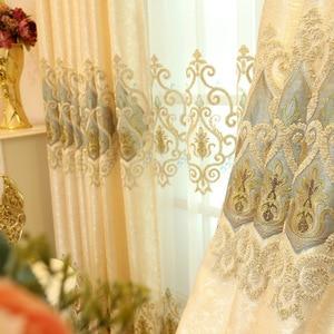 Image 4 - ヨーロッパスタイルシェーディング刺繍、リビングルーム、寝室のカーテンヴィラ、ローマカーテンロッド、ローリング、バックル、垂直、蝶カーテン