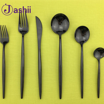 6Pcs/set Home Black 304 Stainless Steel Cutlery Set Mirror Polishing Steak Knife Table Fork Teaspoons Tableware Dinnerware Set