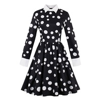 Young17 Vintage Dress Autumn Black White Polka Dots A Line Cotton Dress Retro Long Sleeve Fashion
