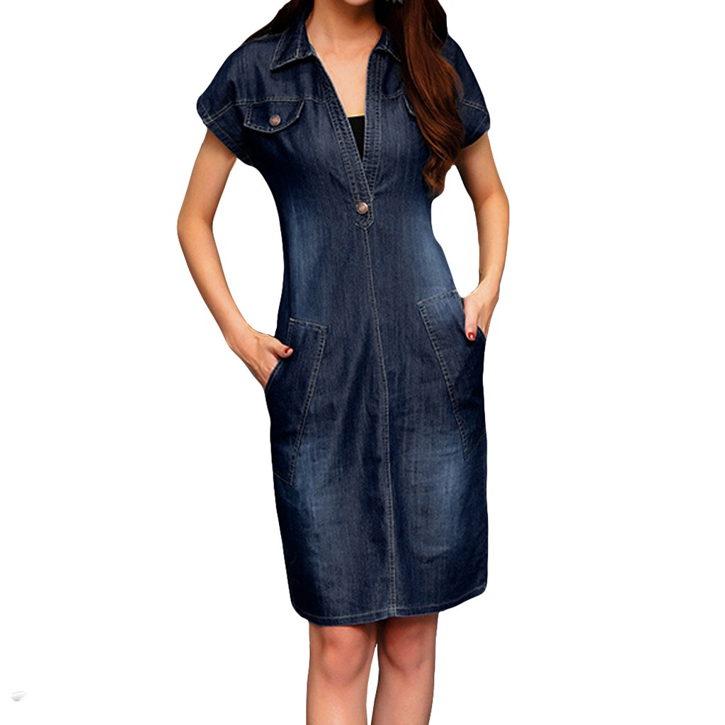 FREE OSTRICH Dress Women Denim Short Sleeve V-Neck Casual Loose Pockets Blue Loose Current Elegant Graceful Short Dress Summer