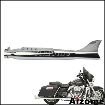 1x Fishtail Exhaust Mufflers Motorcycle Slip-on Mufflers Exhaust Pipes 35-41mm For Harley Cafe Racer Left Side