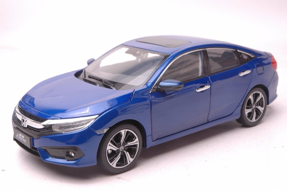 1:18 Diecast Model for Honda Civic 2016 MK10 Blue Sedan Alloy Toy Car Miniature Collection Gifts 1 18 diecast model for buick lacrosse black classic sedan alloy toy car collection gifts