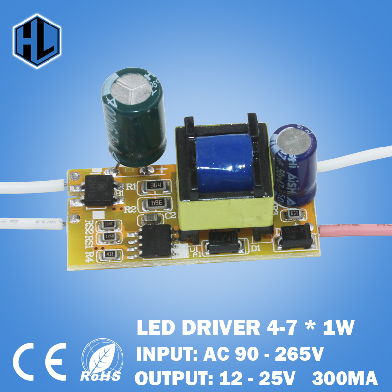4-7W LED Light Driver Transformer Power Supply <font><b>Adapter</b></font> Input AC90-265V Output DC12-<font><b>25V</b></font> Constant Current 280-300mA for Led Lamp image