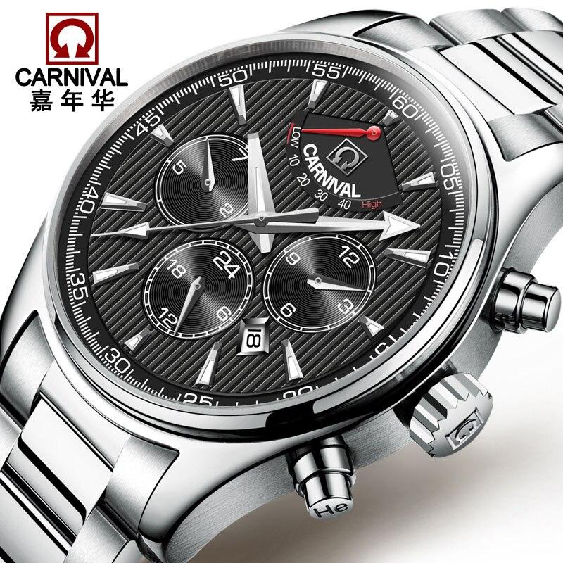 Carnaval affaires montres mécaniques automatiques hommes Top marque de luxe en acier inoxydable montre hommes étanche horloge erkek kol saati