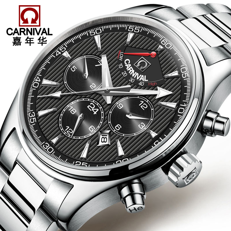 Carnival Business Automatic Mechanical Watches Mens Top Brand Luxury Stainless Steel Watch Men Waterproof Clock erkek kol saati tevise men black stainless steel automatic mechanical watch luminous analog mens skeleton watches top brand luxury 9008g