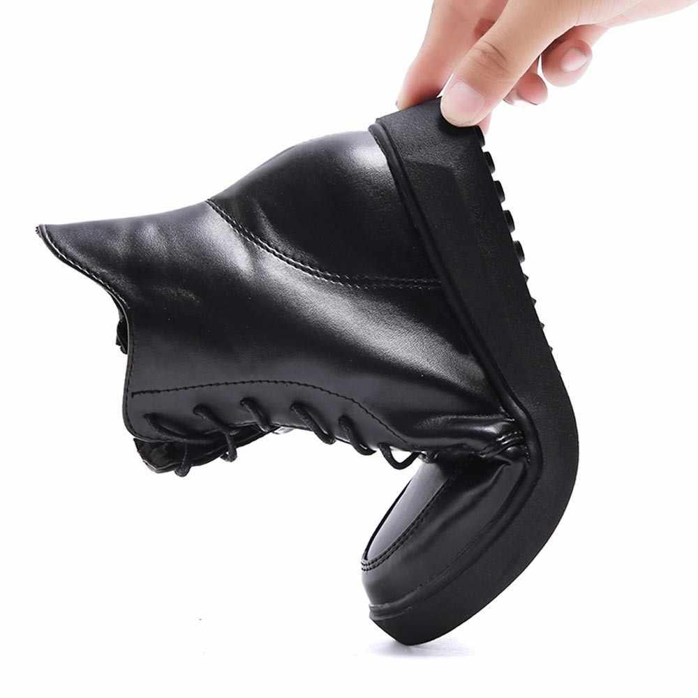 Thời trang Phụ Nữ Người Anh Dày Có Đế Ren Up Boots Ấm Nền Tảng Giày # TXD