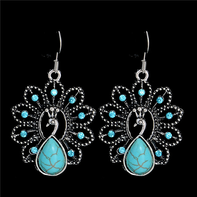 Ethnic Vintage Silver Peacock Dangle Earrings