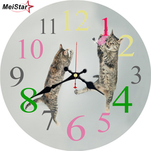 hot deal buy meistar cute cat wooden design wall clocks  silent living study office room decoration home decor watches large wall clocks