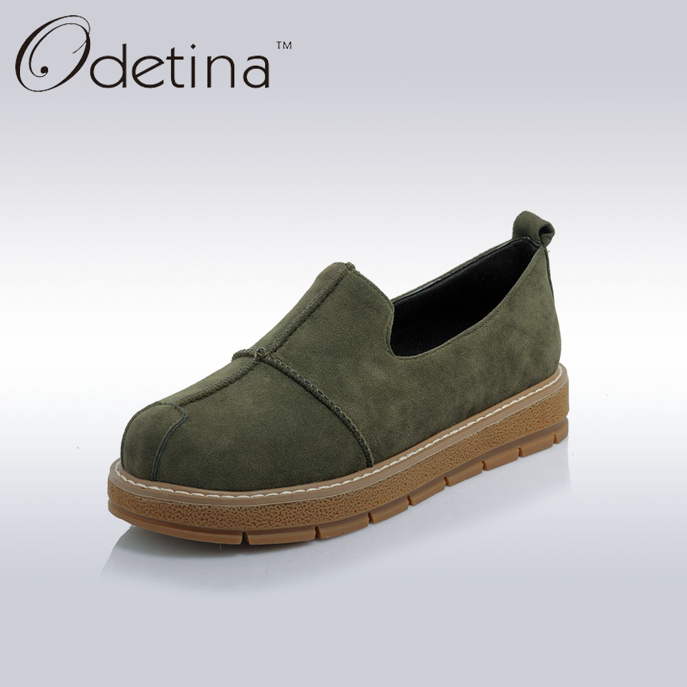 Odetina 2017 New Plus Size Espadrilles Suede Casual Women Shoes Spring Round Toe Slip on Flats Women Non-slip Black Soft Loafers odetina 2017 new women pointed metal toe loafers women ballerina flats black ladies slip on flats plus size spring casual shoes