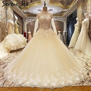 Image 3 - גבוהה צוואר סקסי תחרה חתונה שמלות 2020 שמפניה נצנצים אפליקציות חתונת הכלה Vestido דה Noiva נדל תמונה