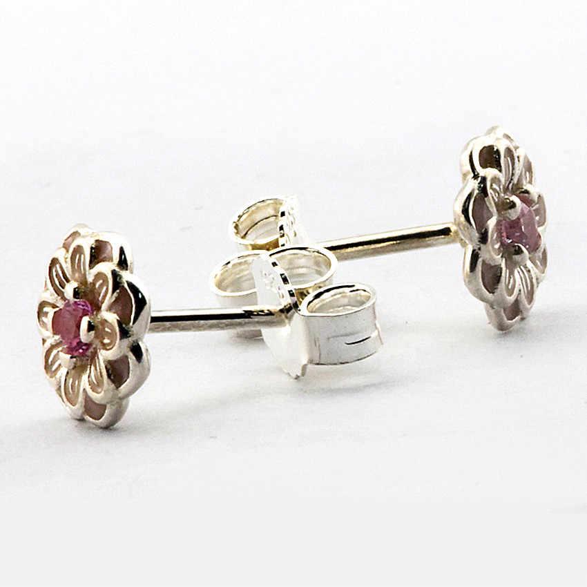 Real 925 Sterling-Silver-Jewelry Earrings for Women Blooming Dahlia Silver Stud Earrings with Enamel & CZ FANDOLA Jewelry FLE053