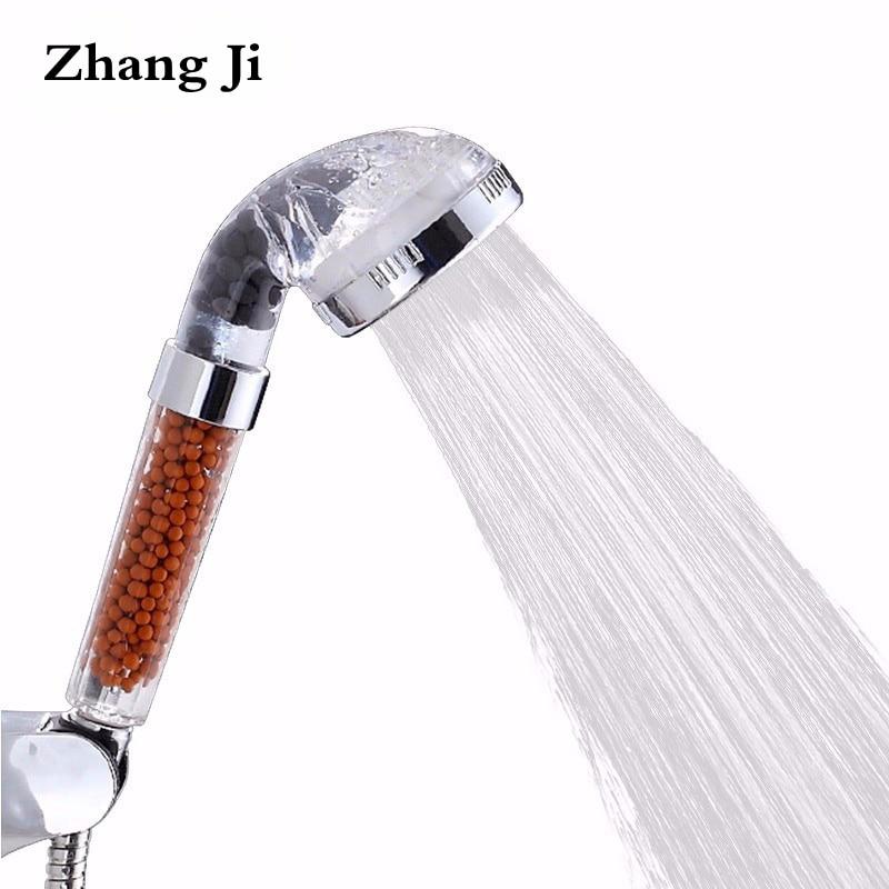ZhangJi Calda SPA Sano Soffione doccia Risparmio di Acqua Ad Alta Pressione Trasparente Testa di Acquazzone Filtro Acqua A Pioggia Ugello Palmare