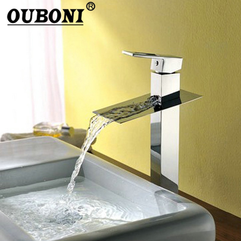 OUBONI New Tall Waterfall Faucet L-3 Bathroom Sink Basin Mixer Water Tap Torneira Chrome Vessel Sinks Mixer Taps Faucet free shipping polished chrome finish new wall mounted waterfall bathroom bathtub handheld shower tap mixer faucet yt 5333
