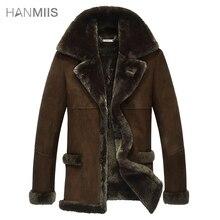 2014 free shipping Fur one piece medium-long leather clothing male genuine leather sheepskin fur leather jacket male coat