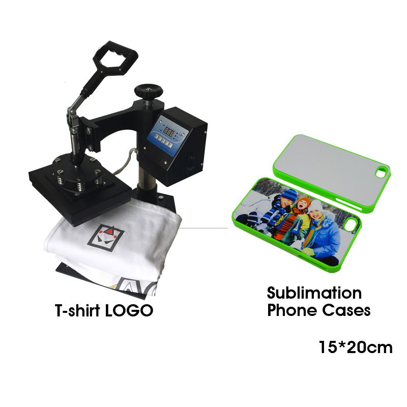 15x20cm size phone case Combo transfer printing machine Sublimation heat press machine for T-shirt logo, 1 pc 2200w image heat press machine for t shirt with print area available for 38 cm x 38 cm