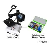 15x20cm size phone case Combo transfer printing machine Sublimation heat press machine for T shirt logo,