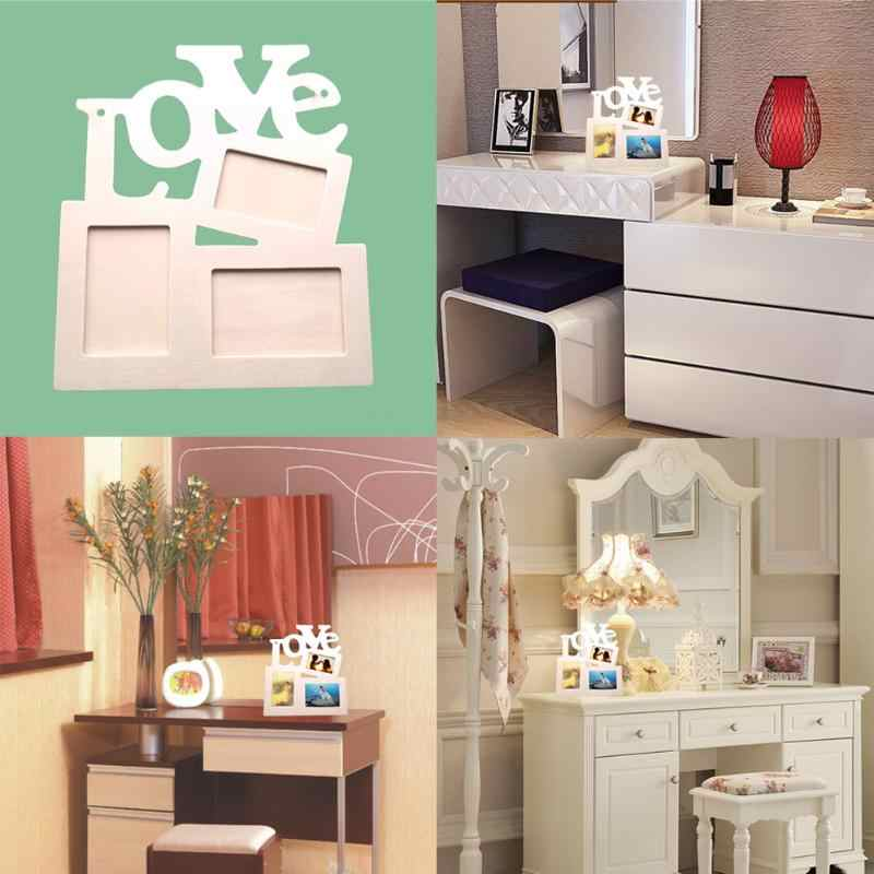 DIY Wooden Wall Photo Frame Hollow Love Family Photo Picture Frames Blank DIY Paint Picture Photo Frame Home Art Decor