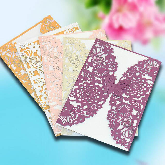 Online Shop 10P Creative Hollow Butterfly Laser Cut Business Party Birthday Invitations Card Decoration Romantic Wedding Supplies U2ANXH3208
