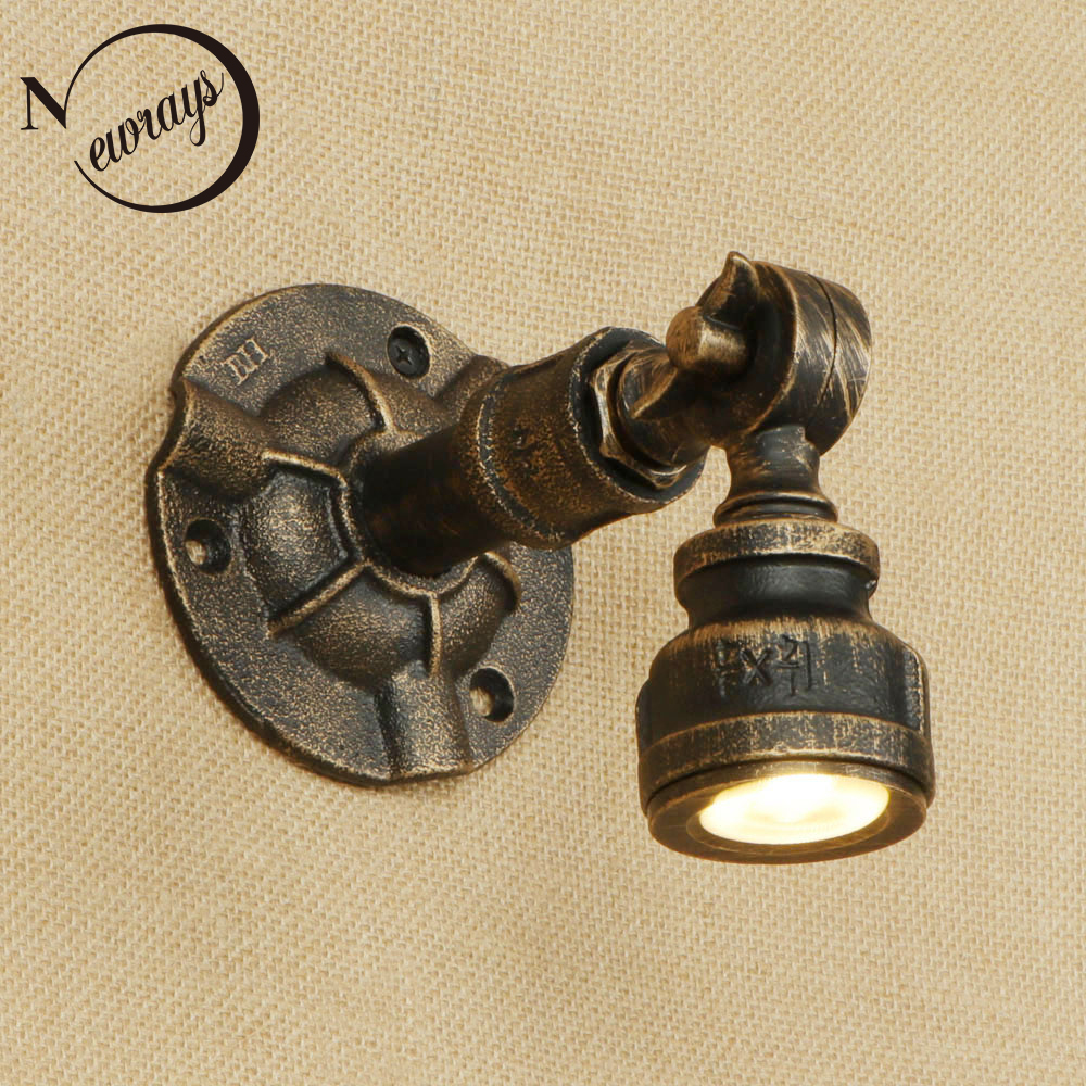 Retro iron water pipe wall lamp art deco country adjustable wall light LED for bedroom restaurant living room cafe path forest path print tapestry wall hanging art