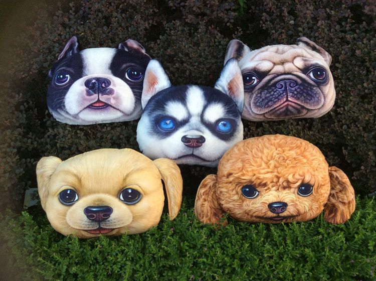 Free Ship3d Printing Dog Face Style Sofa Cushion Home Decoration