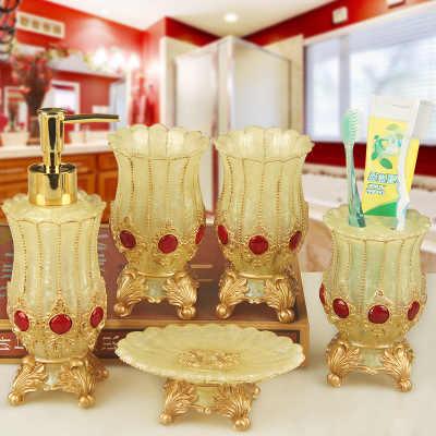 5 sztuk akcesoria łazienkowe europejski rzym arystokracji zestawy do kąpieli pompa dozownika balsamu do kąpieli żywicy uchwyt na szczoteczkę do zębów