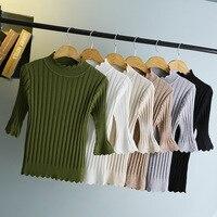 2017 Autumn New Sleeve Sweater Women S Hooded Slim Korean Version Of The Semi High Collar