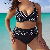 Facecozy Women New Bikini Set Swimwear Plus Size Swimsuit Dot High Waist Beach Sets Bathing Suit Patchwork Big Yards For Ladies
