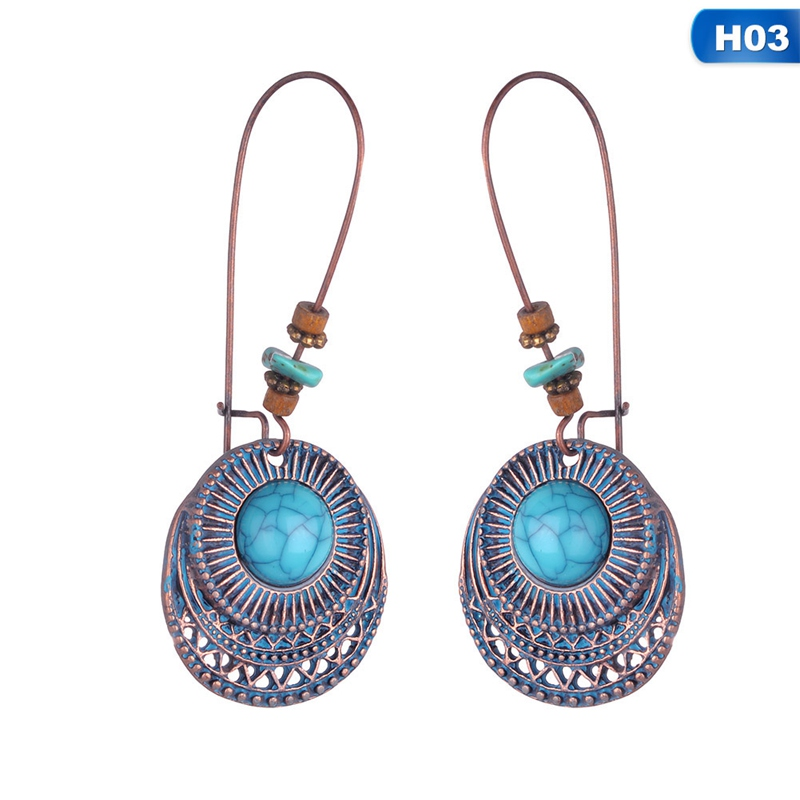Hot Sale Charming Tibet Silvers Retro Vintage Silver Blue Chalcedony  Earring  Female Luck Jewelry