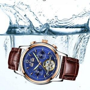 Image 2 - Moda feminina relógios de marca superior luxruy lige relógio automático mulher à prova dwaterproof água relógio esporte senhoras couro negócios relógio de pulso