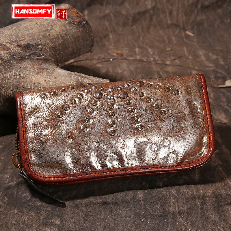 Europe and the United States retro genuine leather printed rivet long zipper hand wallet large capacity