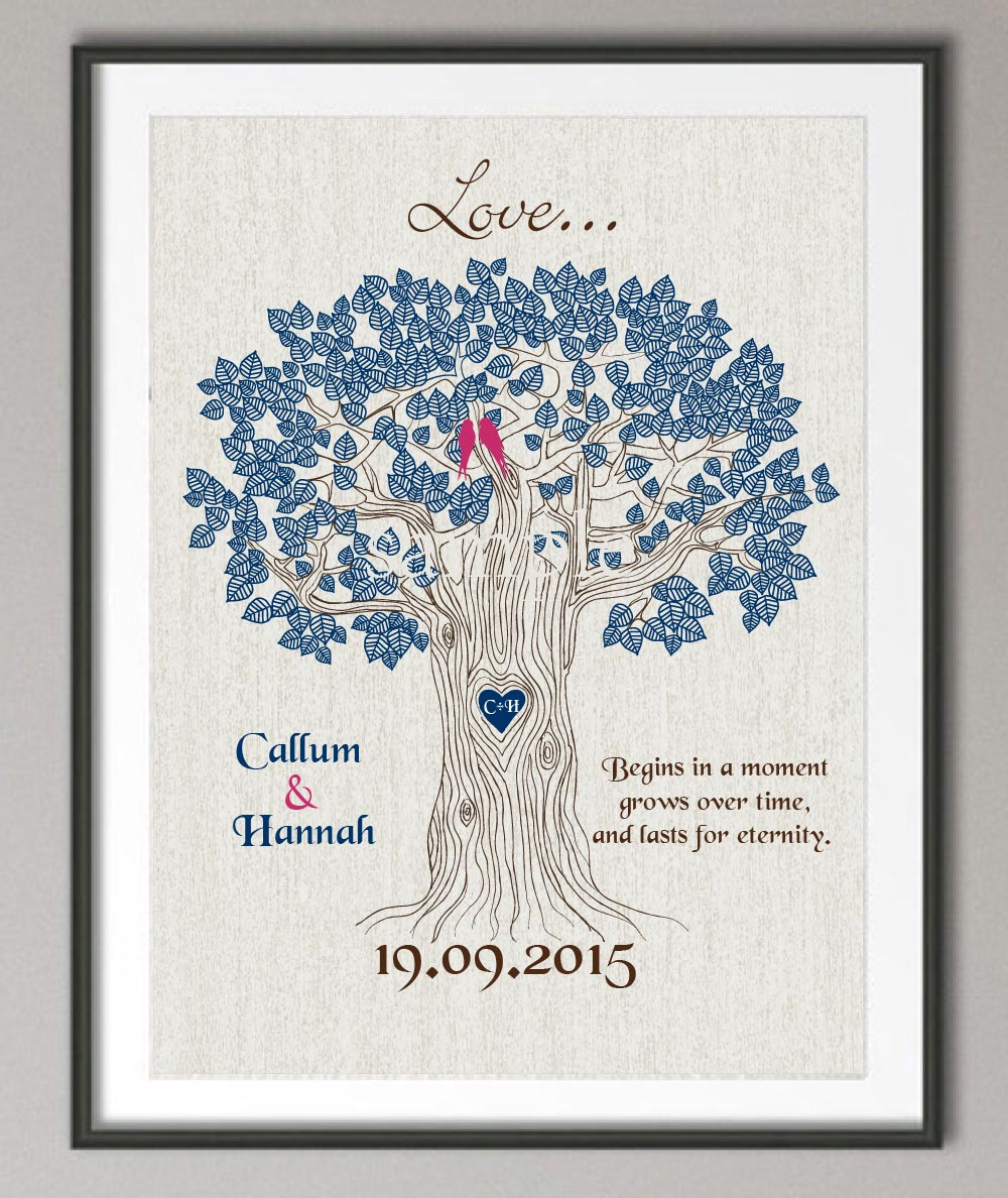 Couples Wedding Anniversary gift Family tree Quote wall ...