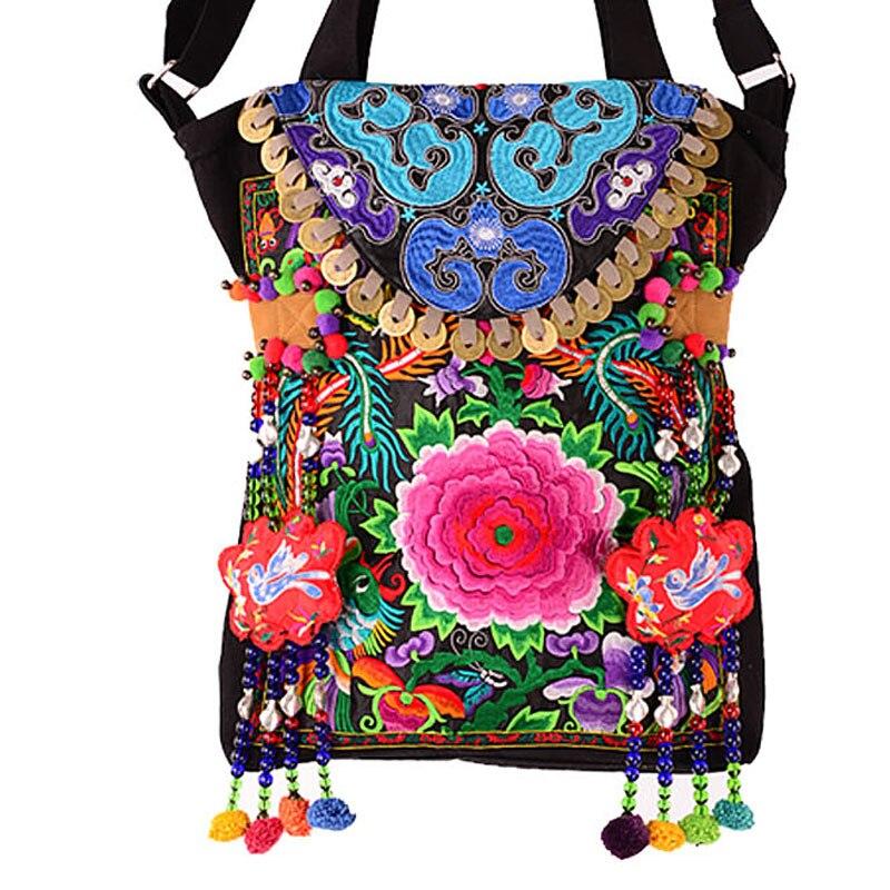 US $82.99 |CALDO Inverno Moda Vintage di lana artificiale tela da ricamo sacchetti di spalla delle donne Etnici Fatti A Mano pompon in rilievo borse A