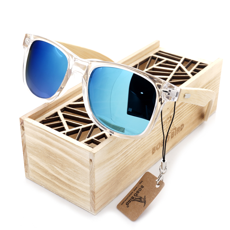 BOBO BIRD Clear Color Wood Bamboo Sunglasses Women's Bamboo Polarized Sunglasses With UV 400 Protection