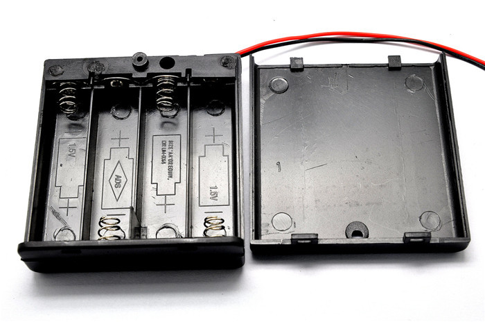Four AA battery compartment lid can be fitted with a switch with 4 AA batteries with