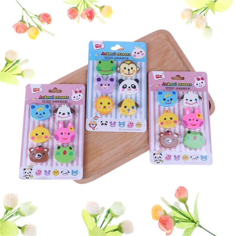 6Pcs/Set Nice Cartoon Animals Pencil Eraser Rubber Novelty Stationery Kindergarten Eraser Kids Gifts Random