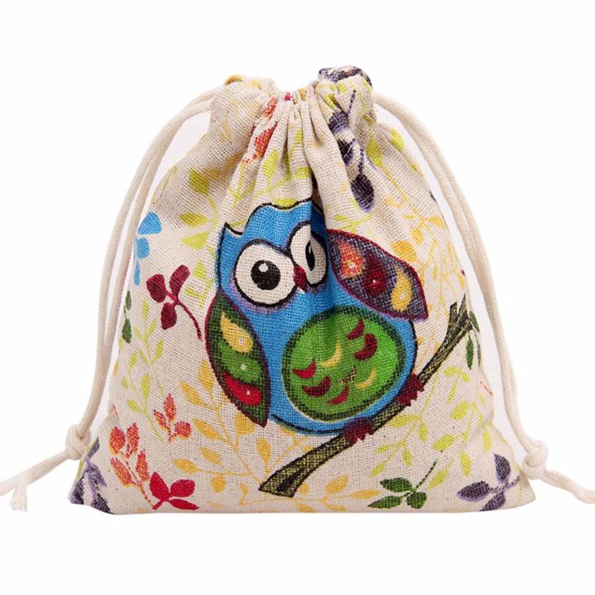 Sleeper #4000 Owl Printing Drawstring Beam Pouch Port Drawstring Gift Bag For Kids