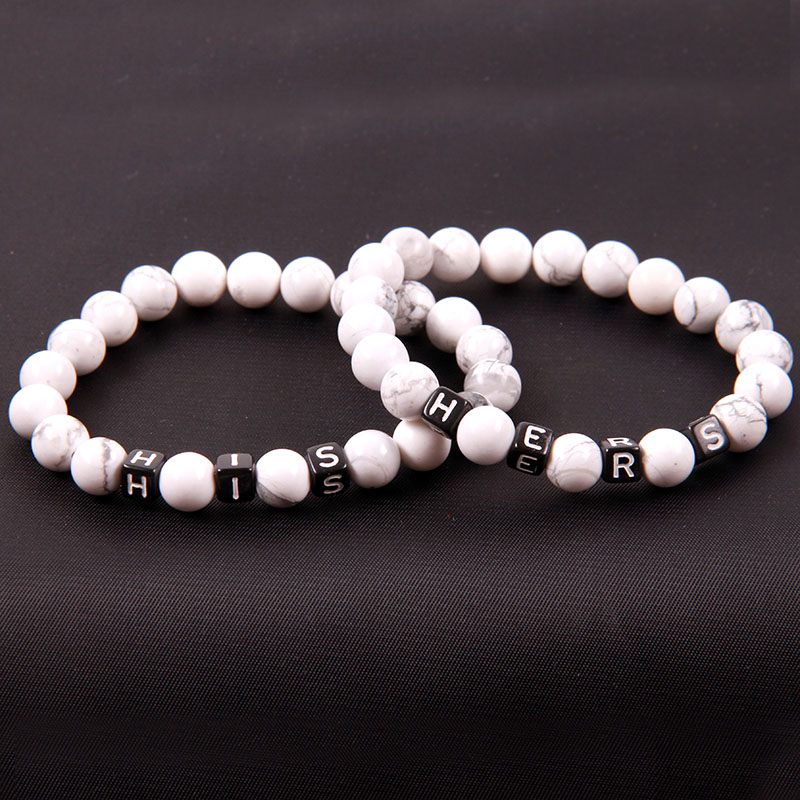 NCRHGL Couple Beads Bracelet Key lock Charm Bracelet Bangles Howlite Lava/Onyx Stone Beaded Bracelet Jewelry For Women Men
