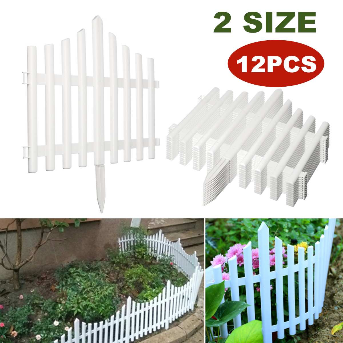 DIY 12PCS Plastic Garden Fence Set Courtyard Edging Border Fencing Panel Outdoor Yard Garden Decorations Easy Assemble White