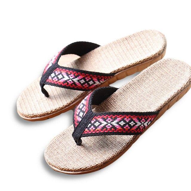 2ad1c50e0f8494 New Summer Linen Women Slippers Ethnic Lattice Fabric Eva Flat Non-Slip  Flax Flip Flop Home Slides Lady Sandals Straw Beach shoe