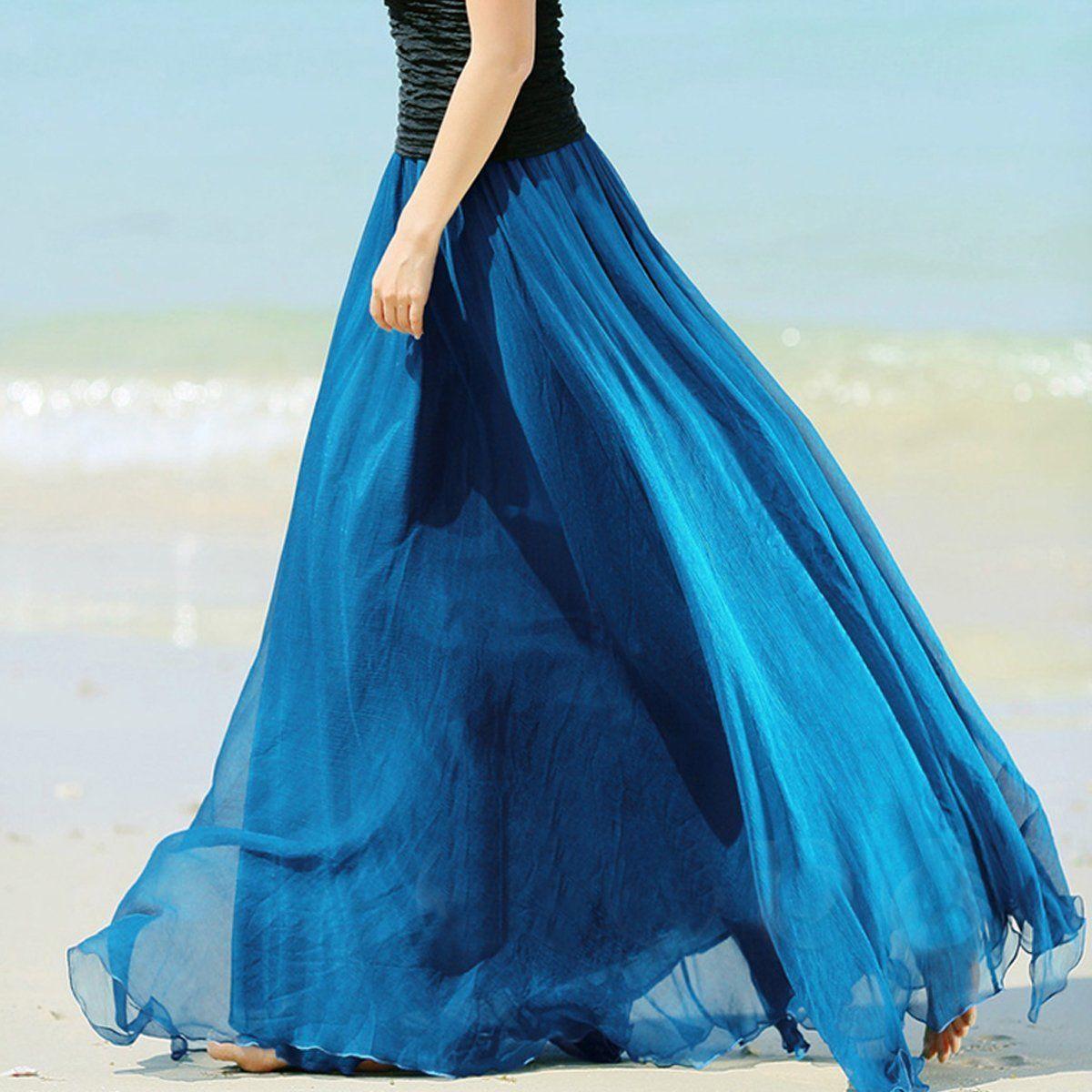 Fashion Women Double Layer Chiffon Pleated Long Maxi Skirts Elastic Waist Solid  Floor-Length Long Skirts