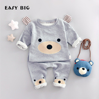 EASY BIG 2017 Spring Unisex Children's Sets 100% Cottons Boys Girls Cute Bears Pants+T-shirts Kids Top Clothes Sets CC0045