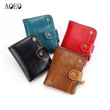AOEO Men Wallets Women Unisex Small Purse For Girls Genuine Leather Oil Wax Minimalist Money Bag Male Vallet Gift Female