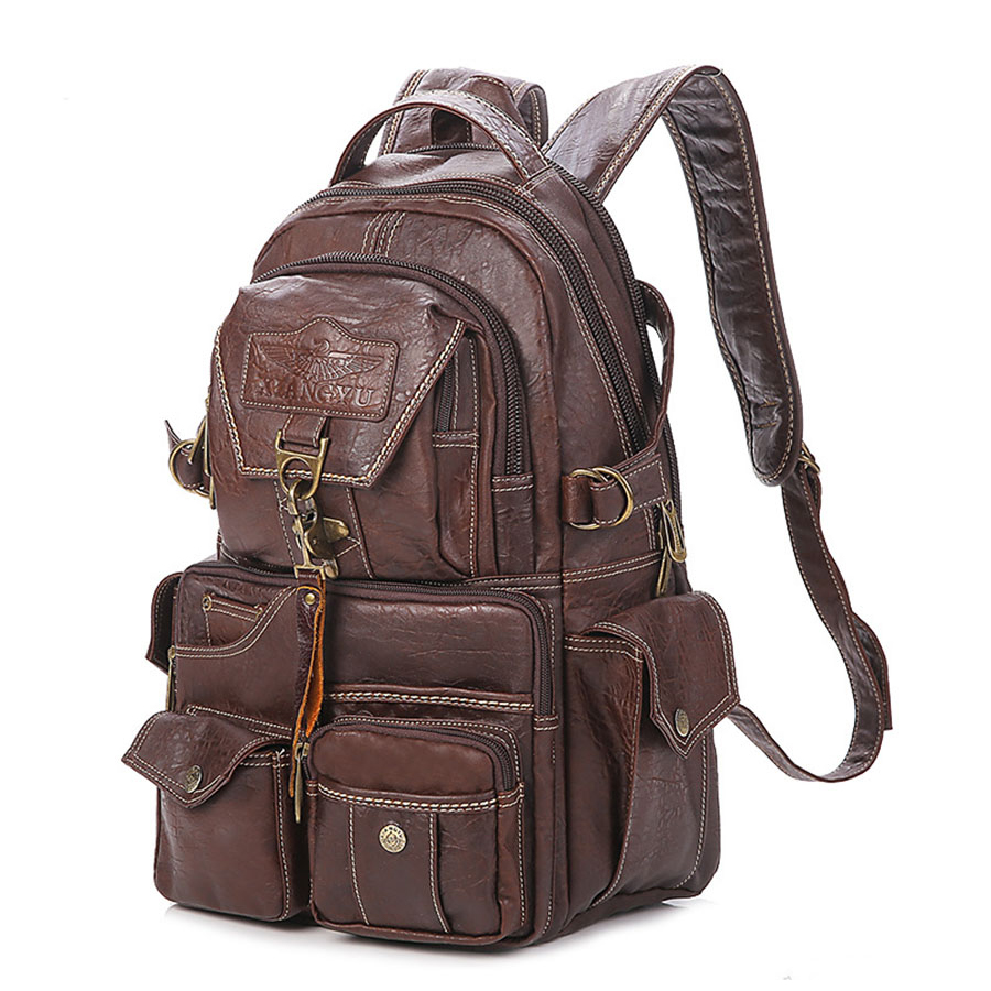 2018 The New Large Capacity PVC Material College Vintage Shoulder Women's Backpack Students Travel Computer Leather Bag Mochilas