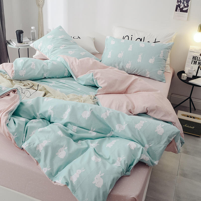 Image 2 - Floral PrintUltra Soft 100%Cotton Twin Queen Bedding Set King  size Bed Fitted sheet Kids Girls Bed set Duvet cover PillowcasesBedding  Sets