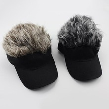 Newest Novelty Baseball Cap Wig Cap Women Men Fake Flair Hair Visor Sun Hat  Toupee Funny 72370e627c56