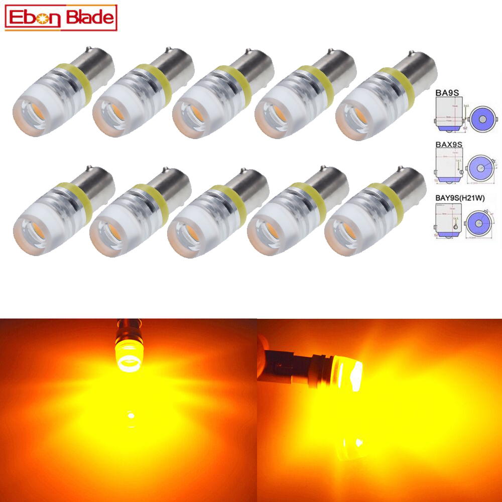 10Pcs BA9S T11 T4W BAX9S H6W BAY9S H21W Car LED Lights Bulbs COB Amber Yelow Orange Light Bulb Lamp Auto Styling 6V 12V 24V DC image
