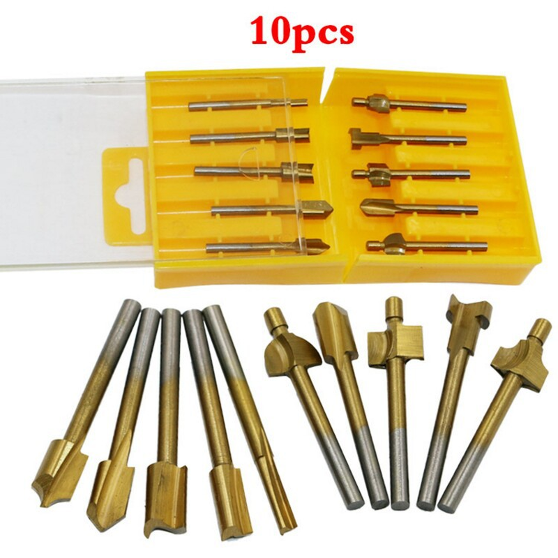 High Quality 10 PCS HSS Woodworking Electric Edge Trimmer Uses Sharpening Engraving Machine Pattern Cutter To Mill Groove