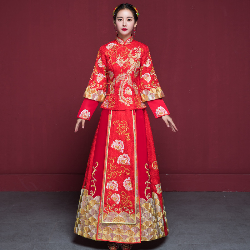 bride wedding dress Traditional chinese style costume Phoenix cheongsam Embroidery clothing Luxury ancient Royal Red Qipao