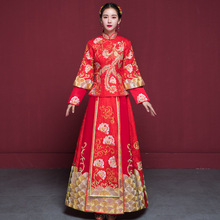 2e082272f5 bride wedding dress Traditional chinese style costume Phoenix cheongsam Embroidery  clothing Luxury ancient Royal Red Qipao